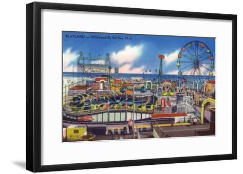 Wildwood, New Jersey - Wildwood-By-The-Sea Playland View-Lantern Press-Framed Art Print