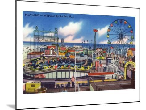 Wildwood, New Jersey - Wildwood-By-The-Sea Playland View-Lantern Press-Mounted Art Print