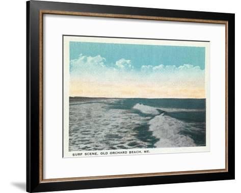 Old Orchard Beach, Maine - View of Surf-Lantern Press-Framed Art Print