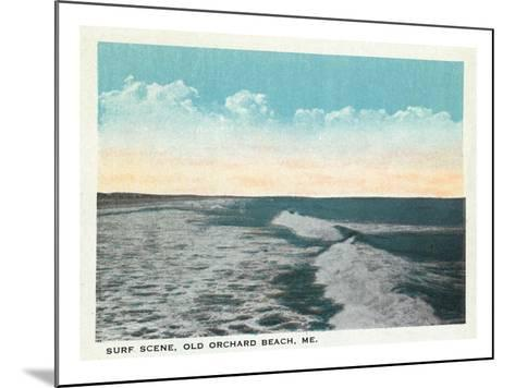 Old Orchard Beach, Maine - View of Surf-Lantern Press-Mounted Art Print