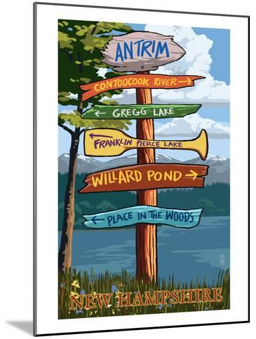 Antrim, New Hampshire - Destination Sign-Lantern Press-Mounted Art Print