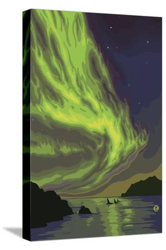 Northern Lights and Orcas-Lantern Press-Stretched Canvas Print