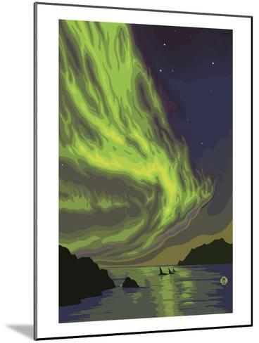 Northern Lights and Orcas-Lantern Press-Mounted Art Print