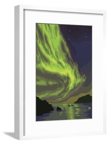 Northern Lights and Orcas-Lantern Press-Framed Art Print