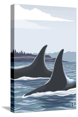 Orca Whale Fins-Lantern Press-Stretched Canvas Print