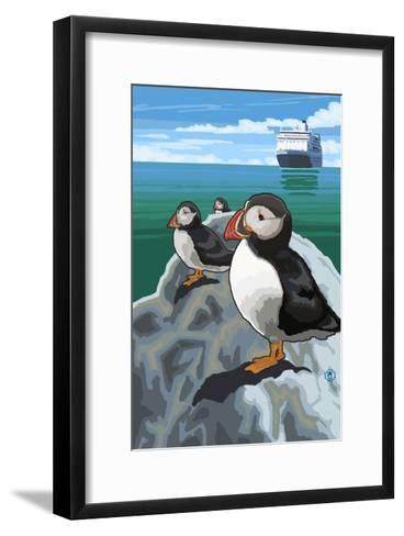 Puffin and Cruise Ship - Pacific-Lantern Press-Framed Art Print
