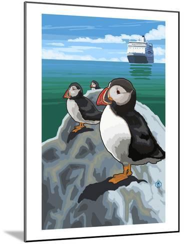 Puffin and Cruise Ship - Pacific-Lantern Press-Mounted Art Print