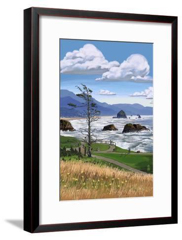 Rocky Coastline-Lantern Press-Framed Art Print