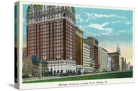 Chicago, Illinois - Michigan Boulevard North Scene-Lantern Press-Stretched Canvas Print