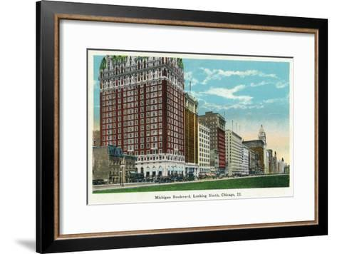 Chicago, Illinois - Michigan Boulevard North Scene-Lantern Press-Framed Art Print