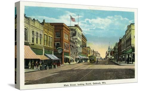 Oshkosh, Wisconsin - Main Street North Scene-Lantern Press-Stretched Canvas Print