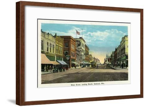 Oshkosh, Wisconsin - Main Street North Scene-Lantern Press-Framed Art Print