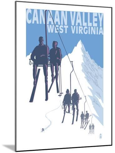 Canaan Valley, West Virginia - Skiers on Lift-Lantern Press-Mounted Art Print