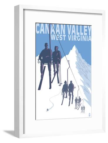 Canaan Valley, West Virginia - Skiers on Lift-Lantern Press-Framed Art Print