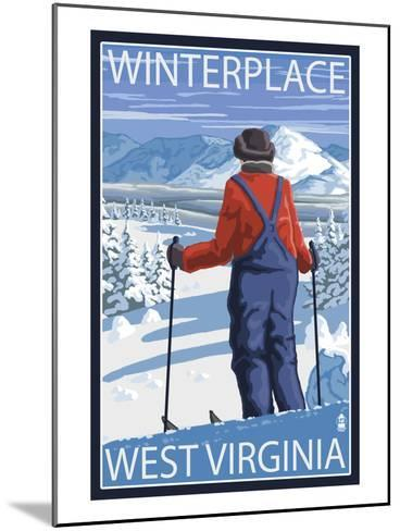 Winterplace, West Virginia - Skier Admiring View-Lantern Press-Mounted Art Print