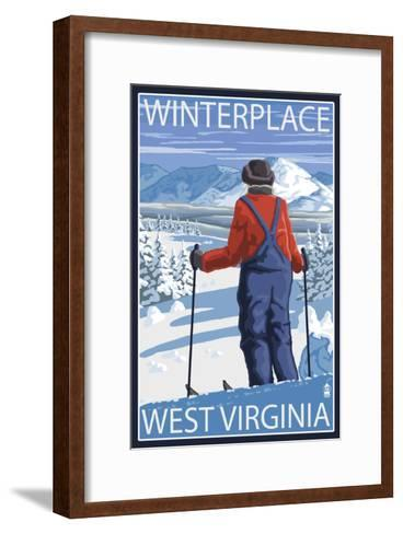 Winterplace, West Virginia - Skier Admiring View-Lantern Press-Framed Art Print