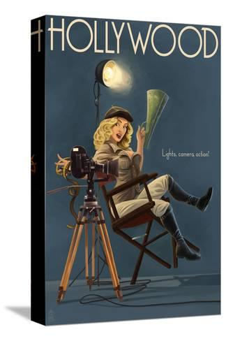 Hollywood, California - Directing Pinup Girl-Lantern Press-Stretched Canvas Print