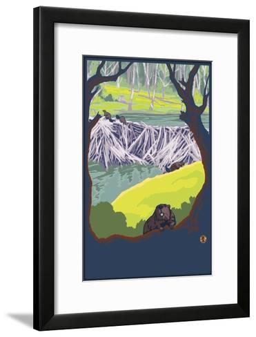 Beaver Family-Lantern Press-Framed Art Print