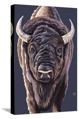 Bison Up Close-Lantern Press-Stretched Canvas Print