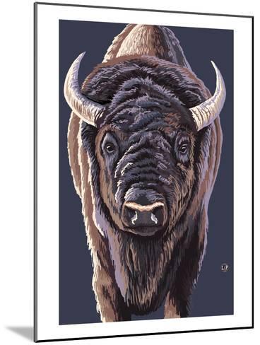 Bison Up Close-Lantern Press-Mounted Art Print