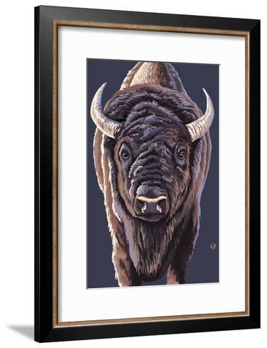 Bison Up Close-Lantern Press-Framed Art Print
