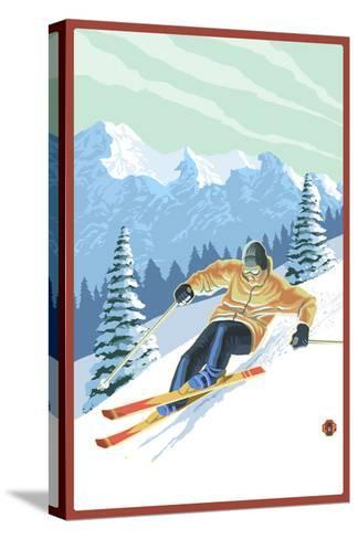 Downhill Skier-Lantern Press-Stretched Canvas Print