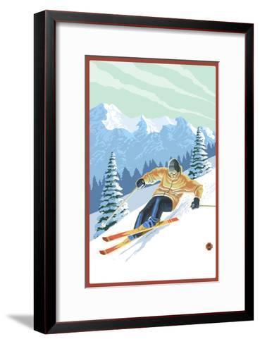 Downhill Skier-Lantern Press-Framed Art Print