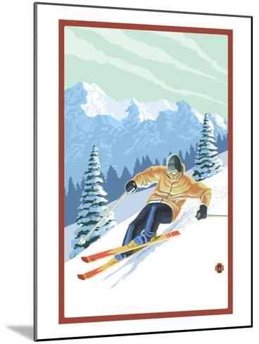 Downhill Skier-Lantern Press-Mounted Art Print