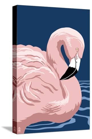 Flamingo Solo-Lantern Press-Stretched Canvas Print