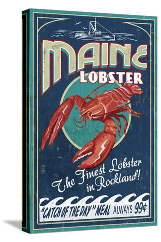 Lobster - Rockland, Maine-Lantern Press-Stretched Canvas Print