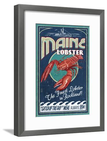Lobster - Rockland, Maine-Lantern Press-Framed Art Print