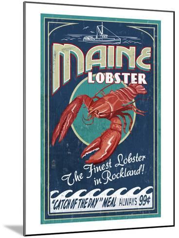 Lobster - Rockland, Maine-Lantern Press-Mounted Art Print