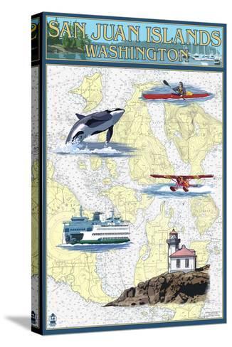 San Juan Islands, Washington - Nautical Chart-Lantern Press-Stretched Canvas Print