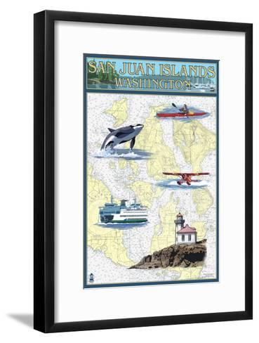 San Juan Islands, Washington - Nautical Chart-Lantern Press-Framed Art Print