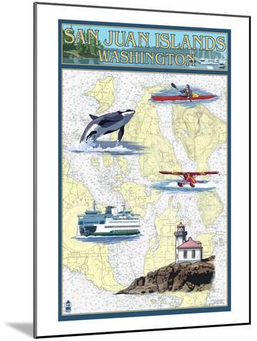 San Juan Islands, Washington - Nautical Chart-Lantern Press-Mounted Art Print