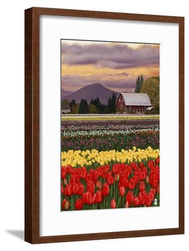 Tulip Farm-Lantern Press-Framed Art Print