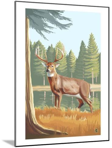 White Tailed Deer-Lantern Press-Mounted Art Print