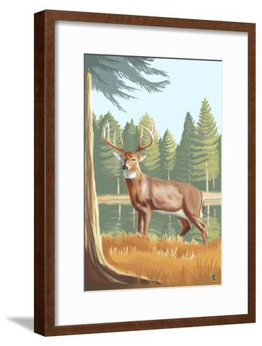 White Tailed Deer-Lantern Press-Framed Art Print