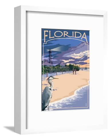 Florida - Lighthouse and Blue Heron Sunset-Lantern Press-Framed Art Print