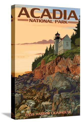 Acadia National Park, Maine - Bass Harbor Lighthouse-Lantern Press-Stretched Canvas Print