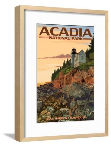 Acadia National Park, Maine - Bass Harbor Lighthouse-Lantern Press-Framed Art Print