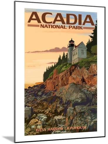 Acadia National Park, Maine - Bass Harbor Lighthouse-Lantern Press-Mounted Art Print