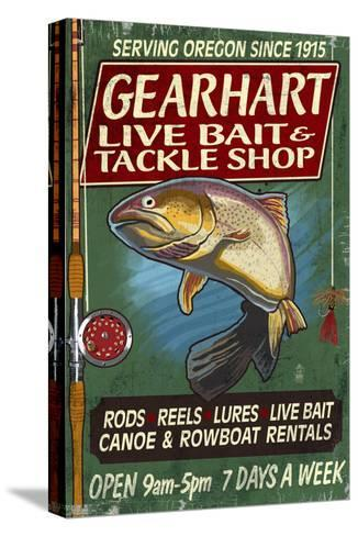 Bait and Tackle Shop Trout -Gearhart, Oregon-Lantern Press-Stretched Canvas Print