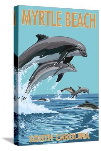 Myrtle Beach, South Carolina - Dolphins Swimming-Lantern Press-Stretched Canvas Print