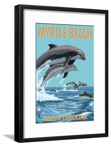 Myrtle Beach, South Carolina - Dolphins Swimming-Lantern Press-Framed Art Print