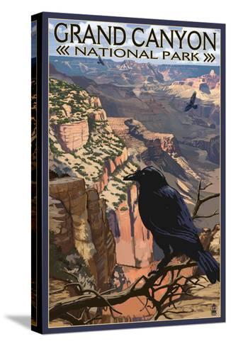 Grand Canyon National Park - Ravens at South Rim-Lantern Press-Stretched Canvas Print