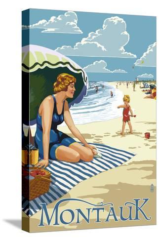 Montauk, New York - Beach Scene-Lantern Press-Stretched Canvas Print