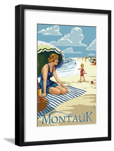Montauk, New York - Beach Scene-Lantern Press-Framed Art Print
