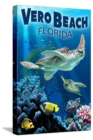 Sea Turtles - Vero Beach, Florida-Lantern Press-Stretched Canvas Print