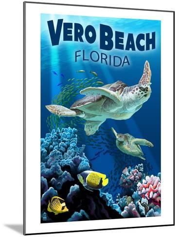 Sea Turtles - Vero Beach, Florida-Lantern Press-Mounted Art Print